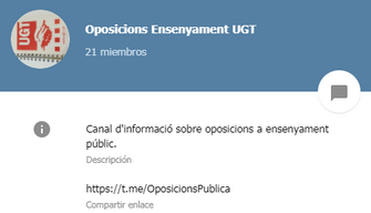 CANAL DE TELEGRAM: OPOS ENSENYAMENT